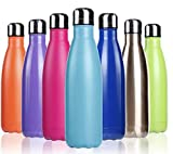 TSL 17 Oz Stainless Steel Vacuum Insulated Water Bottle | Cola Shape Thermos|Thermal Wall | Cold - 24 Hours|Hot 12 Hours| Reusable Metal Water Bottle | Pink Blue Copper