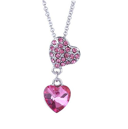 [Next-Tues 2016 Korea Crystal Pendant Necklace Dripping Women Heart Shape Jewelry(Pink)] (Diy Pageant Girl Costume)
