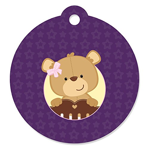 Girl Baby Teddy Bear - Baby Shower or Birthday Party Favor Gift Tags (Set of 20)