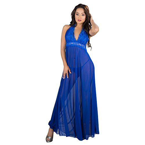 (Blue Sexy NightGown Lingeire Elegant Noble Stain, G-String Thong, Baby Doll Nightwear Sexy Pajamas,Blue,One Size)