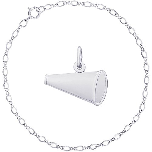 - Rembrandt Charms Sterling Silver Flat Megaphone Charm on a Classic Link Bracelet, 8