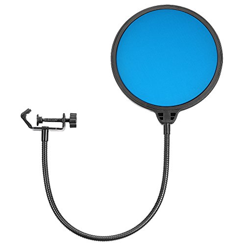 Price comparison product image Neewer Double-Layer 6 inches 360 Degree Microphone Pop Filter Studio Microphone Round Shape Wind Screen Mask Shield with Stand Clamp Gooseneck for KTV Studio Sound Recording Broadcasting (Blue)