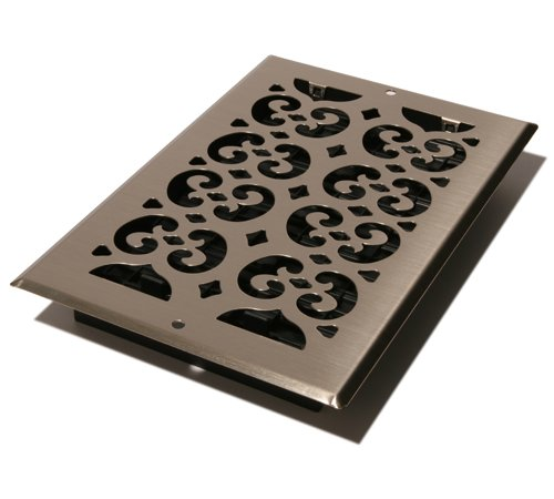 Decor Grates SP610W-NKL Scroll Steel Plated Wall Register, 6 x 10-Inch, - Floor Nickel Plated Brushed Steel