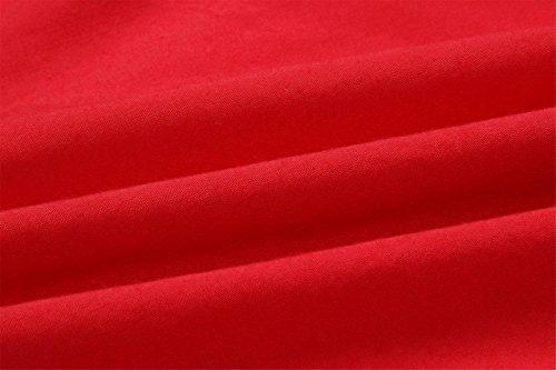 A Plisado en Tirantes Aberturas Línea Triangular V Lazada Cintura Pierna Sin Vestido Alto Rojo Line Midi Finos Botones Lazo Skater SZIVYSHI Escote Plisado a Media Mangas Delantera en Abotonada Fn1Szgxq
