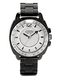 Coach Women's Andee Boyfriend Watch 14501348 Black Acrylic Bracelet and Case White Signature Logo Dial