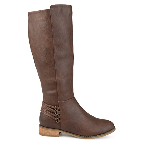 Brinley Co Womens Madds Regular and Wide Calf D-Ring Strap Distressed Faux Leather Riding Boots Brown, 10 Wide Calf US by Brinley Co