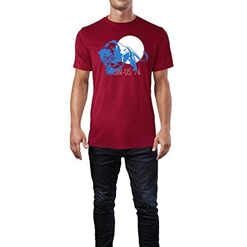 SINUS ART ® Schwarzer Panther Herren T-Shirts in Independence Rot Fun Shirt mit tollen Aufdruck
