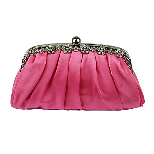 1 Design Diamante Party Purse Designer Ladies Women Handbag Evening Satin Pink Bridal Prom Bags Floral Clutch Bridesmaid Ax6qU1Zg