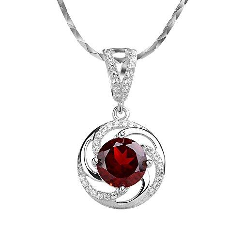 iSTONE Natural Gemstone Red Garnet Round 925 Sterling Silver Pendant Necklace 16''