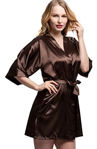 Lucyhu Robe Kimono, Short Satin Bride Bridesmaids Robe Sexy Women Wedding Party Kimono Robes Woman Sleepwear Night Dress Pajamas L ()
