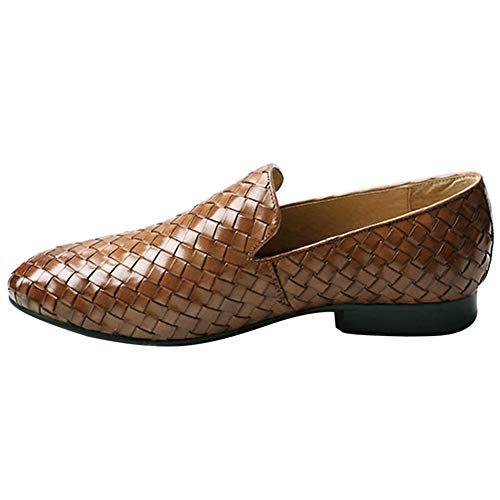 - Fulinken Men's Leather Moccasin Casual Woven Slip on Loafers Causal Mens Shoes (11, Brown)
