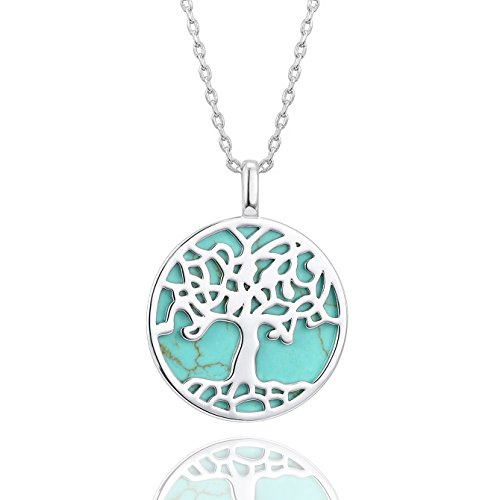 PAVOI 14K White Gold Plated Tree of Life Turquoise Necklace Pendant 18