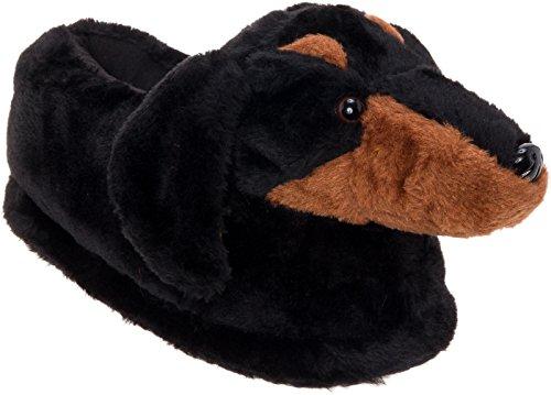 Silver Lilly Dachshund Slippers - Plush Dog Slippers w/Platform (Black/Tan, -