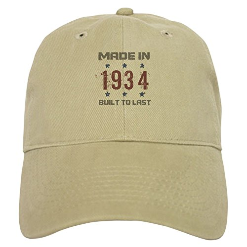 CafePress - Made In 1934 Cap - Baseball Cap with Adjustable Closure, Unique Printed Baseball Hat Khaki