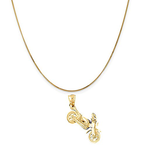 Motorcycle Gold 14k (14k Yellow Gold 3-D Motorcycle Pendant on a 14K Yellow Gold Curb Chain Necklace, 20