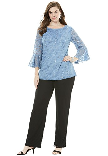 Roamans Women's Plus Size Lace Pantsuit Blue Lace,28 W (Roamans Womens Pant Suit)