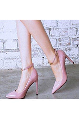 Azbro Zapatos Tacón Alto Estiletes De Plataforma Pu Punta Estrecha Correa-Tobillo Color violeta