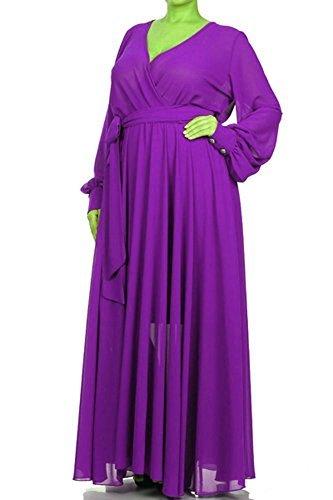FULL SWEEP Chiffon MAXI DRESS Wrap SHEER Blouse Gown Long Skirt (2XL, Solid ()