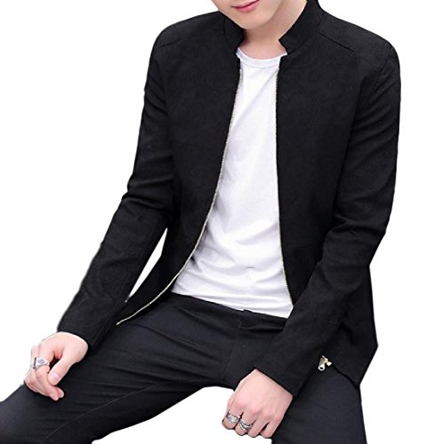 Autumn New Men Slim Baseball Uniform Jacket(Black) - 7