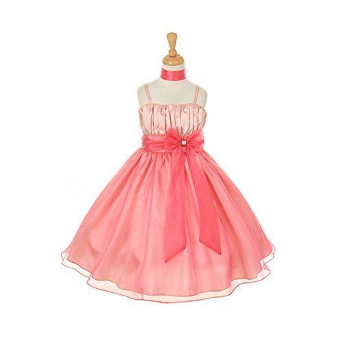 Tafetta Bow (Big Girls Coral Taffeta Crystal Organza Bow Flower Girl Easter Dress 16)