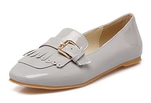 Odomolor Women's Low-Heels Square-Toe Solid Pull-On Pumps-Shoes, Gray, 40