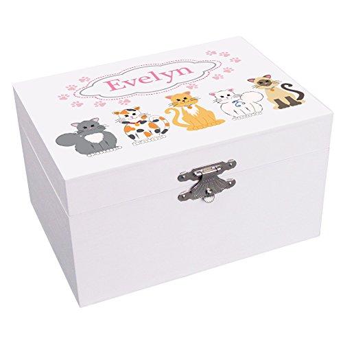Personalized Pink Kitty Cat Ballerina Musical Jewelry Box (Box Kitty Keepsake)