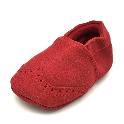 Fabal Baby Shoes Nubuck Baby Moccasins Newborn Shoes Soft Infants Crib Shoes Sneakers First Walker (3-6M, Red)