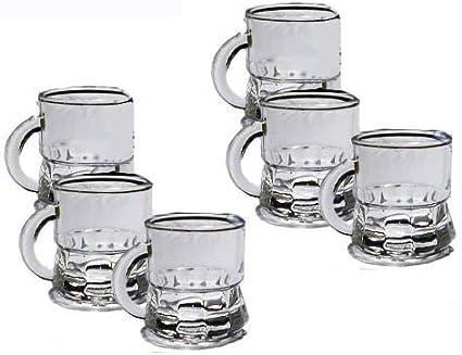 Takestop® – Juego de 6 vasos de vidrio con asa para chupitos de licores, ideal para ron, vodka, etc.