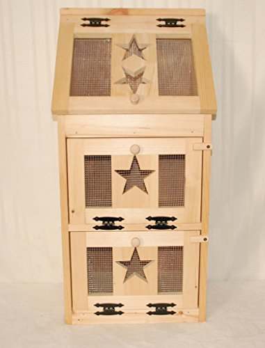 Kenzie's Kreations Unfinished Star Veg Bin with Bread Box on Top, 17'' L x 36'' H by Kenzie's Kreations