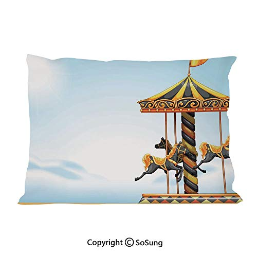 - SoSung Outdoor Bed Pillow Case/Shams Set of 2,Carousel Ride Amusement Park Platform Carnival Circus Horse Roundabout King Size Without Insert (2 Pack Pillowcase 36