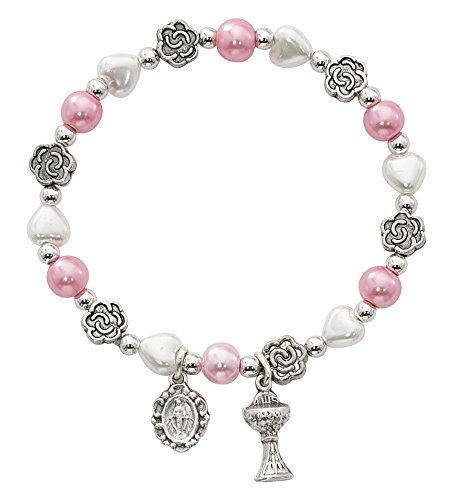 (First Communion Pink and White Heart and Flower Bead Bracelet with Chalice and Miraculous Medal, 6 1/2 Inch)