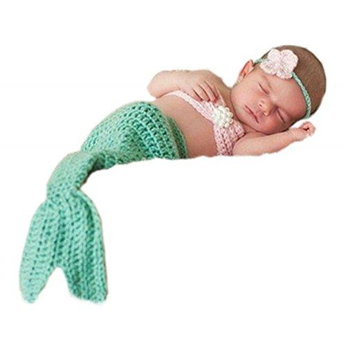 Greatech Newborn Baby Girls Mermaid Headband Bra Tail Crochet Photography Prop - 0-6 - Table Basket Hanging For Changing