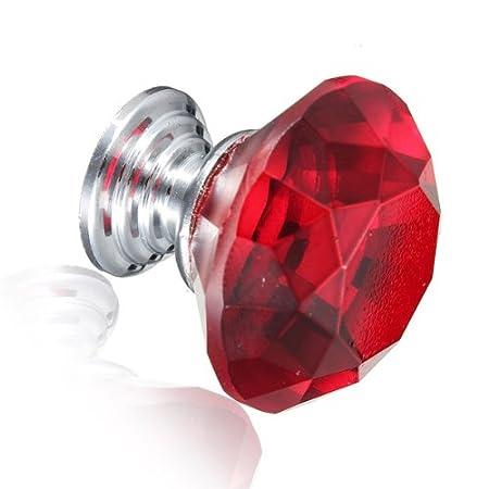 KING DO WAY Lot De 10 Pcs 30mm Rond Poign/ée Bouton Tiroir Placard Armoire Meuble-Cristal Multicolore