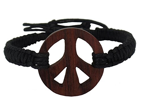 Exotic & Trendy Jewelry, Books and More Peace Bracelet-Wooden Peace Sign Bracelet-Hemp Bracelet -Peace Symbol Bracelet-Peace Pendant Bracelet-Hippie Bracelet - Trendy Sign Peace