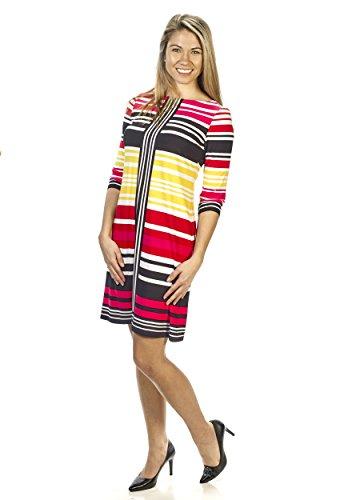 London Times Women 3/4 Sleeve Striped Shift Dress (4)
