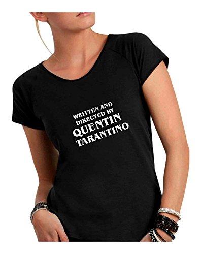 Made shirt Taglio Vivo Donna Italy Cotone By A Nero Quentin Scollo In Tarantino Directed Humor T Ampio Divertente Fiammato 0qwZx08d