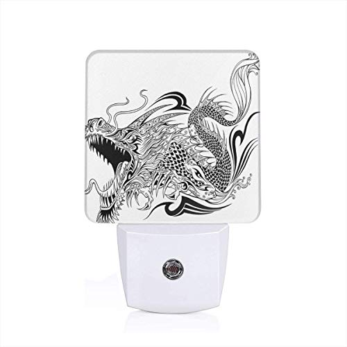 Colorful Plug in Night,Tattoo Style Traditional Asian Winged Creature with Ornamental Ethnic Artsy Pattern,Auto Sensor LED Dusk to Dawn Night Light Plug in Indoor for Childs Adults -