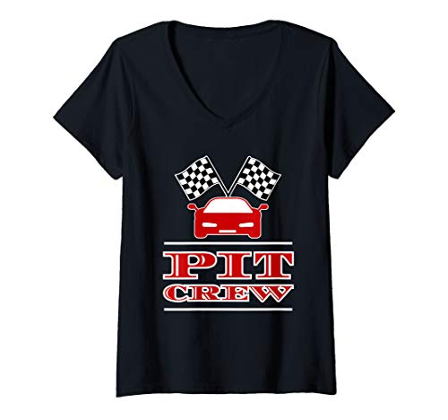 Womens Pit Crew Checkered Flag Automobile Halloween Costume  V-Neck ()