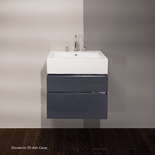 Wall-mount under-counter vanity with finger pulls, without polished steel accents, bothdrawers have U-shaped notch for plumbing.23 5/8