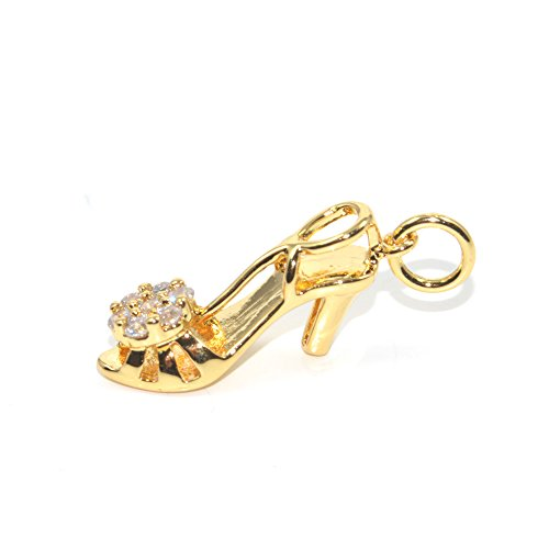 DongStar Jewelry Premium Quality Findings Cooper Connector Paved Cubic Zirconia Crystal Highheels Heels Shoes Bracelet Charm Pendant Plated (Gold) (Gold Braid Heels Shoes)