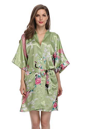 Mignon Cromwell Women's Short Bridesmaids Robe Floral Satin Kimono Dressing Gown with Pockets, Green, M