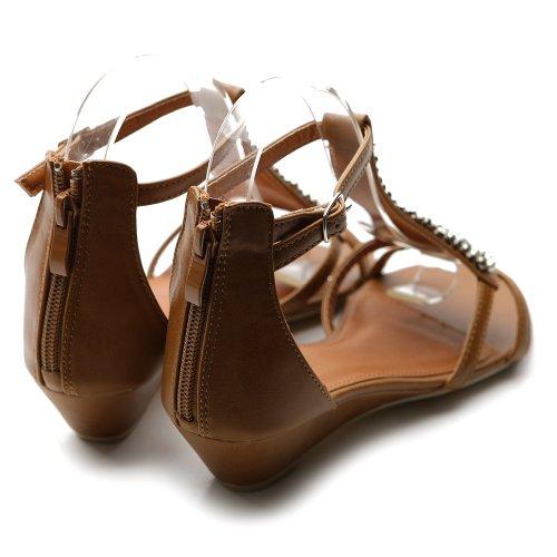 5a08864c4317b Ollio Women s Shoe Gladiator Flat Silver Bead Accent Wedge Multi Color  Sandal