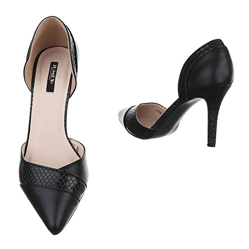 Schuhe Heels Damen Geschlossen G70006 High Design High Stilettoabsatz Pumps Ital Heel Pfennig Schwarz wqAznI