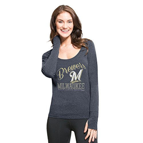 Milwaukee Brewers Classic Baseball - MLB Milwaukee Brewers Women's '47 Dash Long Sleeve Tee, Small, Shift Navy