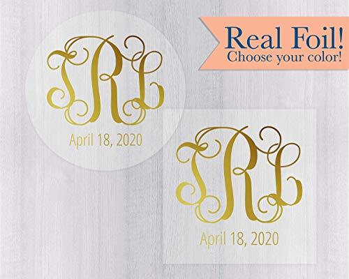 - Monogram Gold or Color Foil on Clear Transparent Wedding Save the Date Envelope Seals (#155-CF)