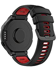 Yoobuu Silicone Watch Strap Compatible with Garmin Forerunner220/230/235/620/630/735,Approach S20/S5/S6 Sport Replacement Band (Black/red)