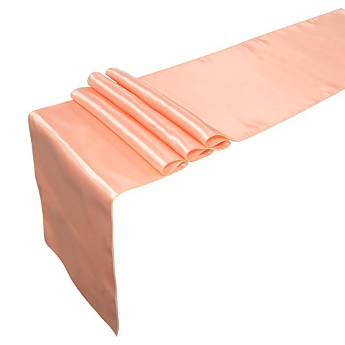 Top Or Floral Tapestry (Ling's Moment Satin Table Runners for Tabletop Décor, Bright Silk and Smooth Fabric Table Cloth, 12 x 108 Inch, Peachy Pink, Set of)