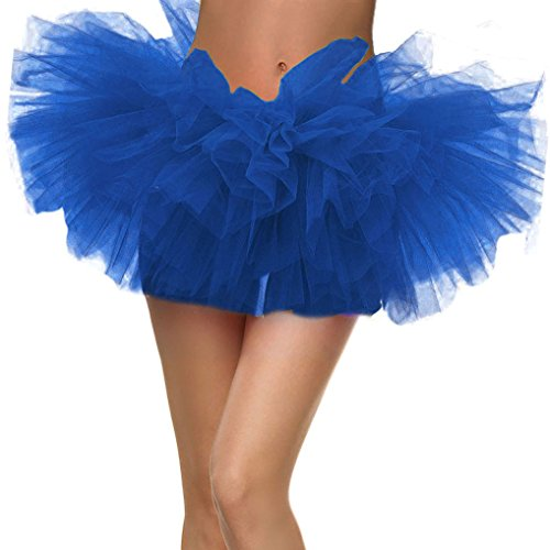 Adult Dance Vintage 5 Layer Ballet Tutu Skirt Great for Running and Races, Royal -