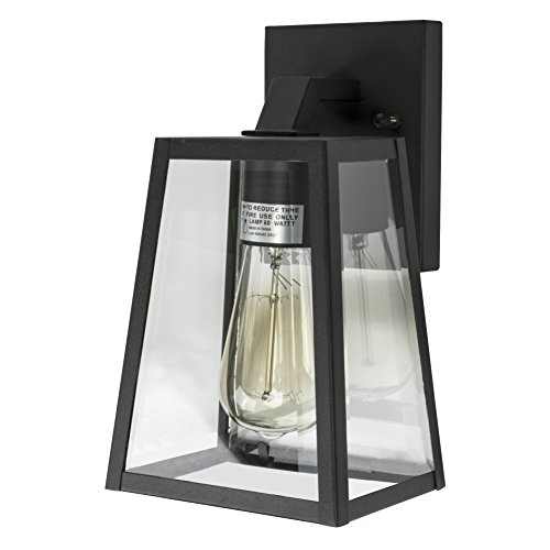 Emliviar Outdoor Wall Mounted Light Single Light Exterior Wall Sconce Lantern, Black Finish Lamp with Clear Bevel Glass, ()