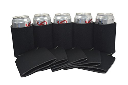 QualityPerfection 50 Black Blank Can Coolers ,Collapsible Insulator Bulk For Beer,Soft Drink,Bottle,Economy 12oz.Beer Can Coolie Perfect For Parties,Wedding,Custom DIY Project,Business (50, Black) (Backyard Wedding Ideas Party)